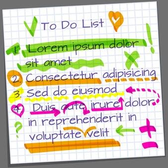 Página de cuaderno con elementos de marcador resaltador.