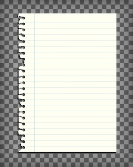 Página de cuaderno forrado en blanco con borde rasgado