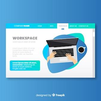 Página de destino con concepto de espacio de trabajo
