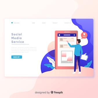 Página de inicio del servicio de medios sociales