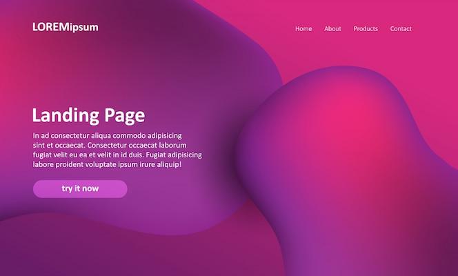 Página de inicio del sitio web con un diseño abstracto