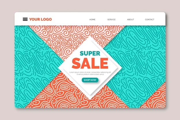 Página de destino abstracta para promoción de ventas