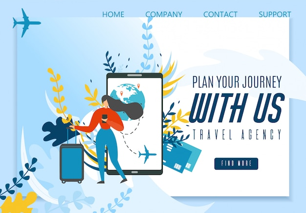 Página de destino de la agencia de viajes