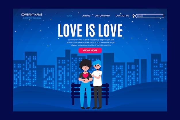 La página de destino el amor es amor