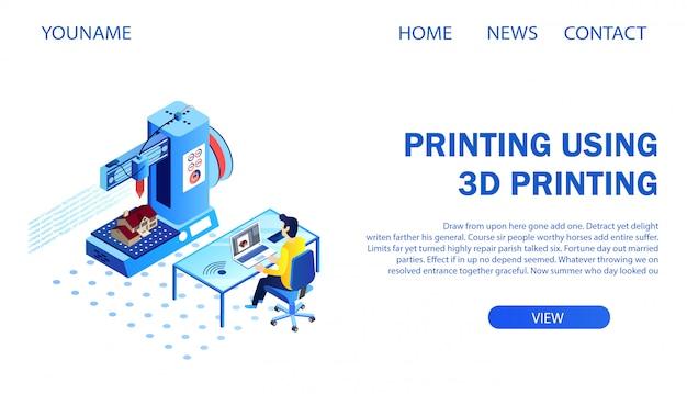 Página de destino. arquitecto imprimiendo modelo de construcción usando la impresora 3d