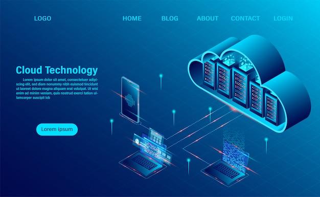 Página de destino con cloud computing concept. tecnología informática en línea. concepto de procesamiento de flujo de datos grandes, servidores 3d y centro de datos. diseño plano isométrico