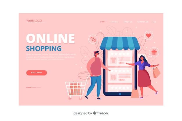 Página de destino de compras estilo plano