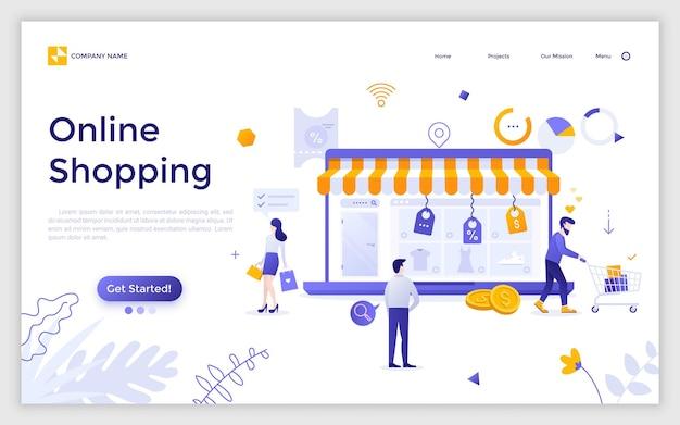 Página de destino con una computadora portátil gigante con el sitio web de la tienda de internet en la pantalla y los clientes que compran productos y realizan compras. las compras en línea. ilustración de vector plano creativo para publicidad, sitio web.