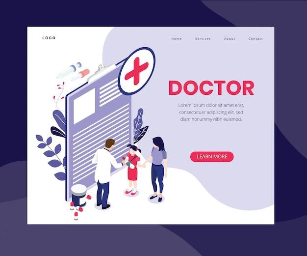 Página de destino. concepto de ilustraciones isométricas del doctor en línea