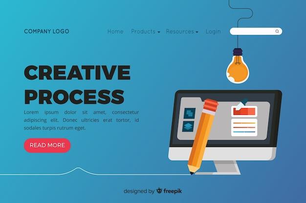 Página de destino con concepto de proceso creativo