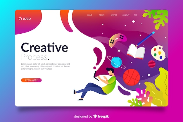 Página de destino creativa de gradiente