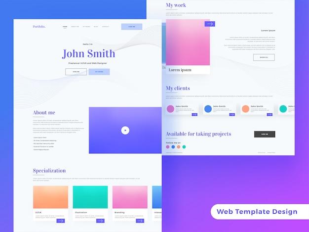 Página de destino creativa o diseño de plantilla web receptiva