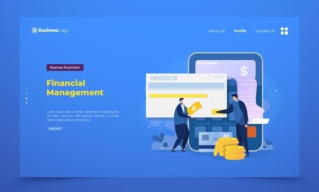 Página de destino con equipo de gestión financiera.