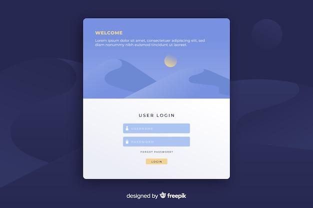 Página de destino con formulario de inicio de sesión de usuario