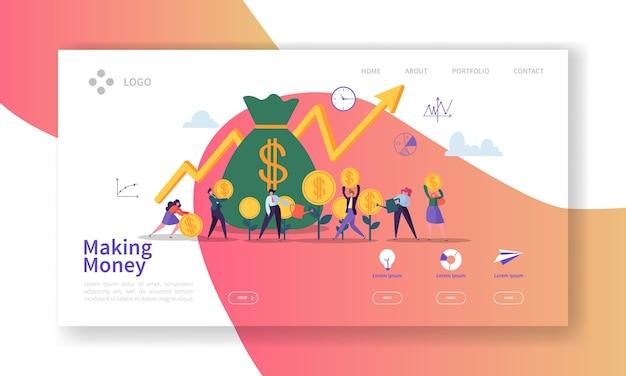 Página de destino para ganar dinero. banner de inversión empresarial con personajes de personas que ahorran dinero plantilla de sitio web.