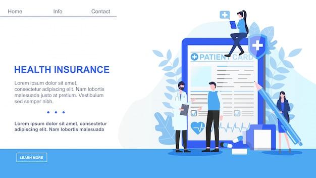Página de destino. hombre doctor hombre paciente tarjeta mujer con pen sign health insurance