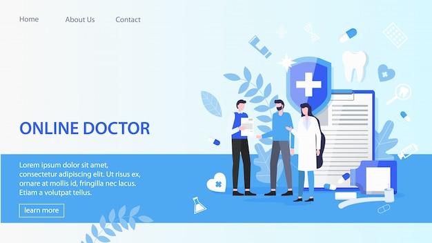 Página de destino. hombre paciente con mujer médico en línea médico servicio vector illustration