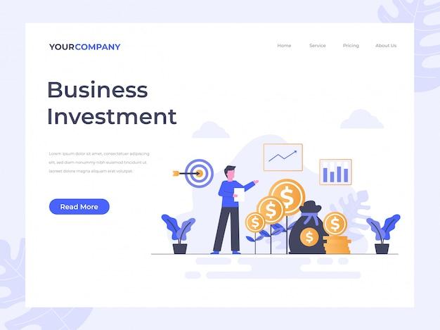 Página de destino de inversión empresarial