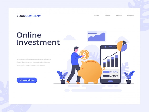 Página de destino de inversión en línea