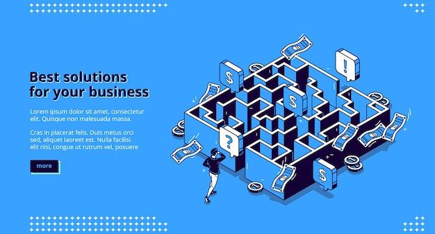 La página de destino isométrica de las mejores soluciones comerciales, el hombre de negocios que busca la manera de alcanzar la meta a través del laberinto, el empleado intenta pasar el laberinto, el objetivo de superación del desafío logra el banner web de arte de línea 3d