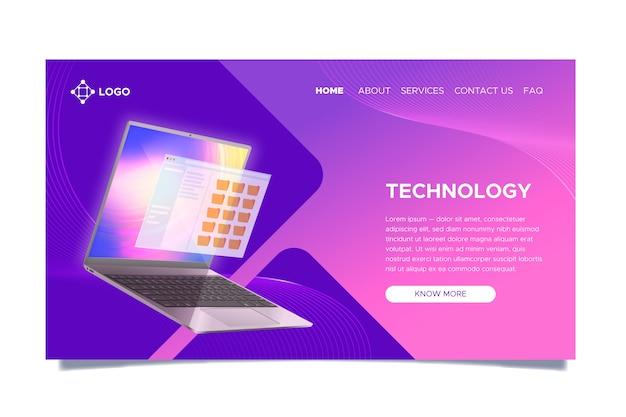 Página de destino con laptop con gradiente