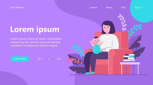 Página de destino, madre sentada en un sillón y sosteniendo a un bebé. niño, infantil, niño pequeño ilustración vectorial plana. concepto de familia y paternidad