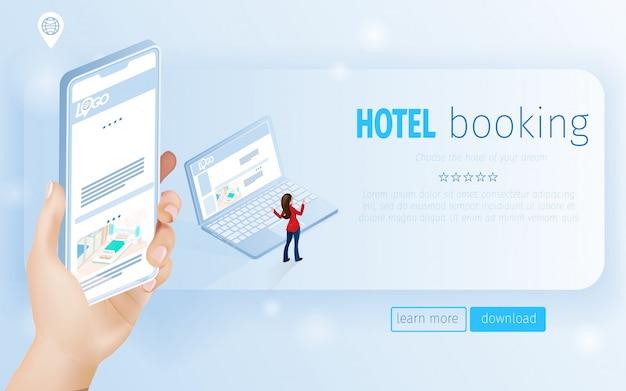 Página de destino mano sosteniendo smartphone y mujer cerca de cuaderno