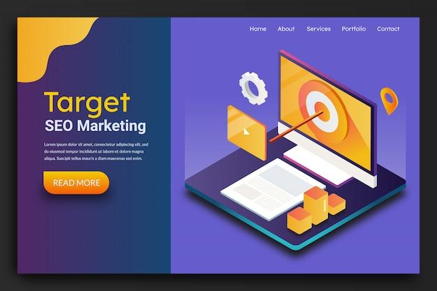 Página de destino de marketing objetivo de seo