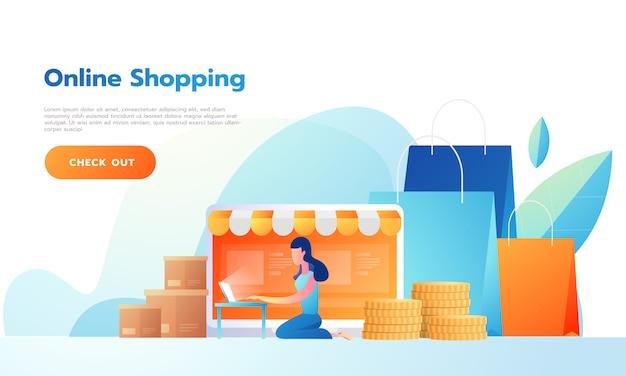 Página de destino mujer feliz vendiendo productos en línea o comprando en línea. ilustraciones vectoriales gente interactuando