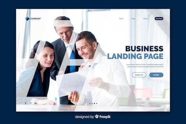 Página de destino de negocios con foto