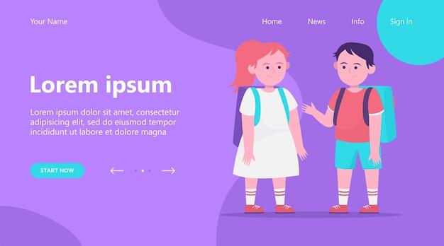 Página de destino, niño y niña charlando entre sí. alumno, mochila, escuela ilustración vectorial plana. concepto de amistad e infancia