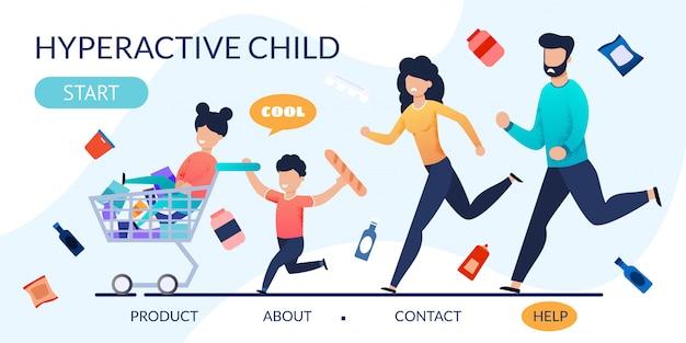 Página de destino con niños y padres hiperactivos