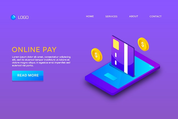 Página de destino o diseño de plantilla web. pago en línea