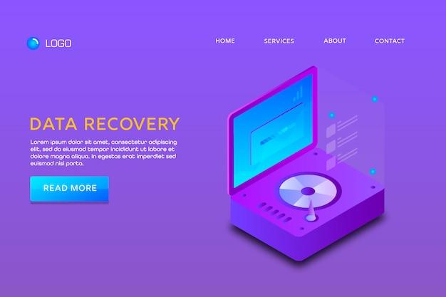 Página de destino o diseño de plantilla web. recuperación de datos