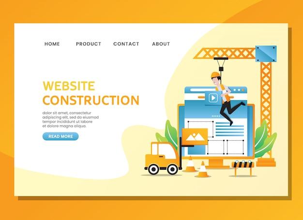Página de destino o plantilla web. construcción de sitio web con hombre trabajando