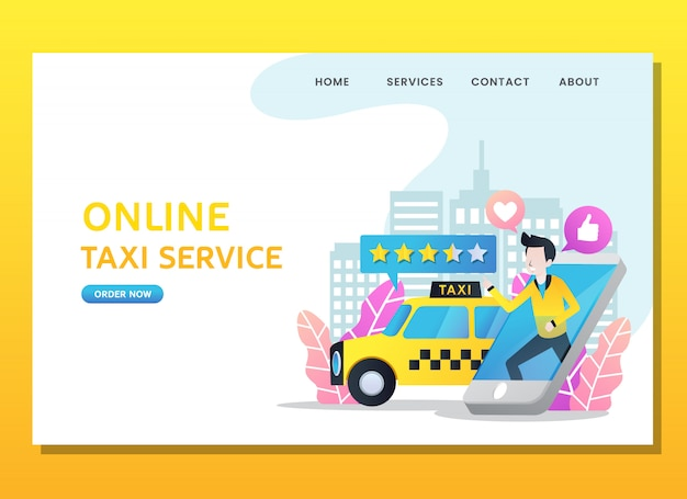 Página de destino o plantilla web. hombre pedir taxi en línea