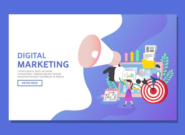 Página de destino o plantilla web. marketing digital con dos personajes y elementos.