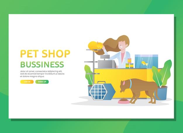 Página de destino o plantilla web. negocio de tienda de mascotas con mujer