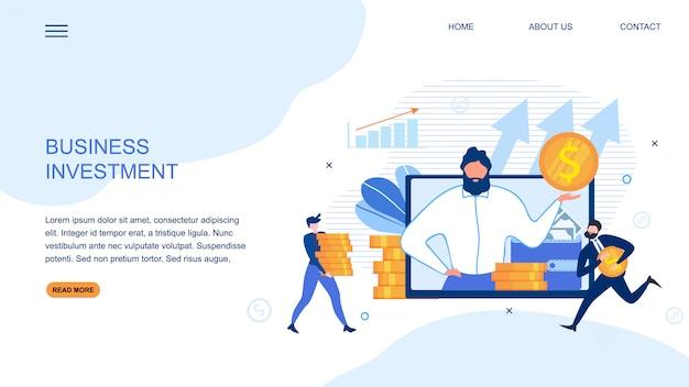 La página de destino ofrece una inversión empresarial rentable