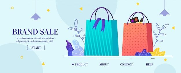 La página de destino ofrece venta de marca en diseño de dibujos animados