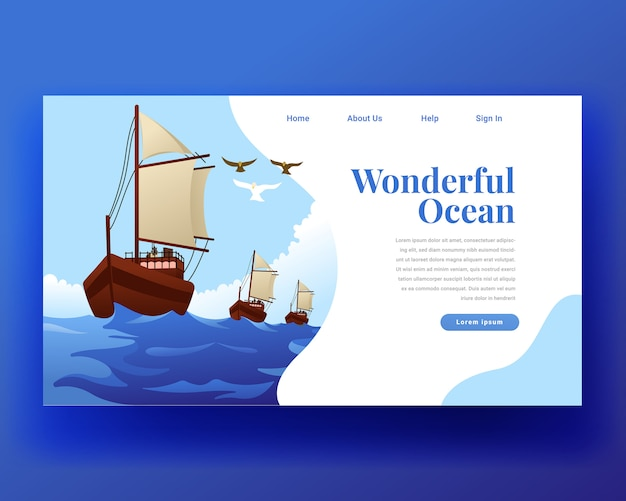 Página de destino página de destino del velero