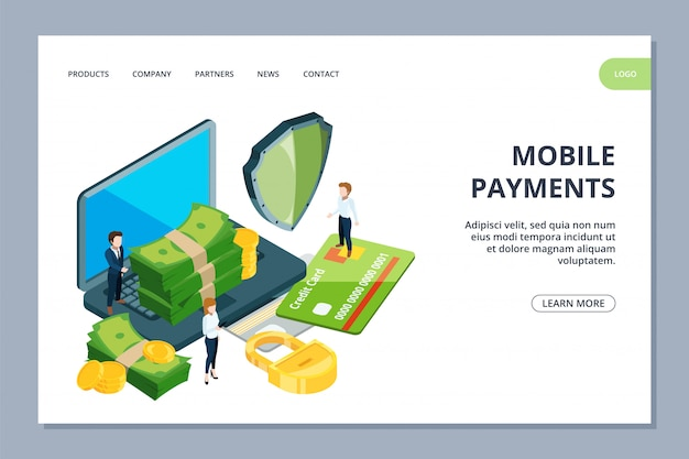 Página de destino de pagos móviles. banner web isométrico de banca en línea