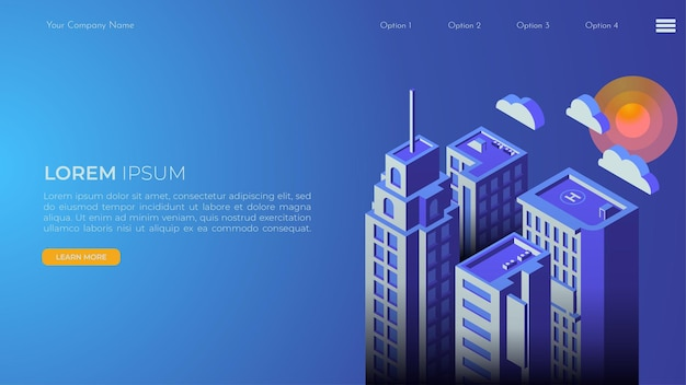 Página de destino del paisaje de la ciudad en isométrico