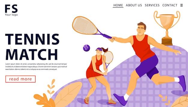 Página de destino. partido de tenis. copa de premios y jugadores.