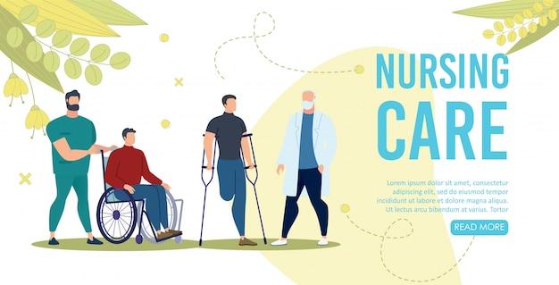 Página de destino plana del servicio de atención de enfermería