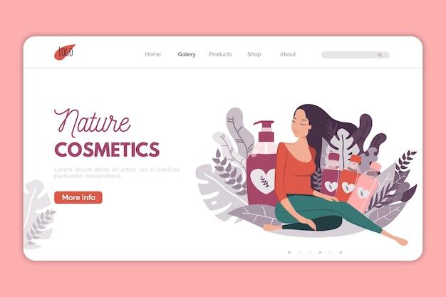 Página de destino para promoción de cosméticos naturales.