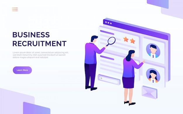 Página de destino de reclutamiento y contratación, las personas analizan el currículum, ilustración de vector de vacante de trabajo