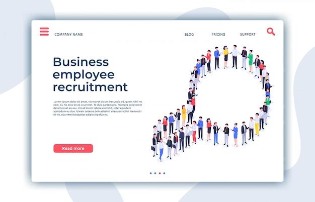 Página de destino de reclutamiento. estamos contratando, lupa, recursos humanos e ilustración isométrica de investigación de empleados de negocios