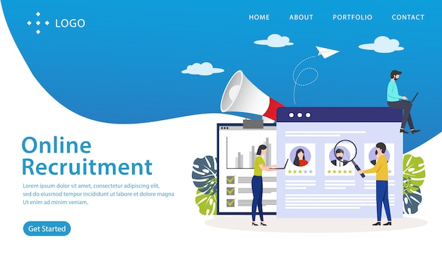 Página de destino de reclutamiento en línea, plantilla de sitio web, fácil de editar y personalizar, ilustración vectorial