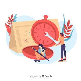 Página de destino con reloj de gestión del tiempo